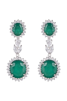White Finish Emerald Long Earrings by Mon Tresor