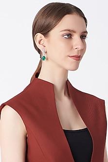 White Finish Cubic Zircons & Emeralds Earrings by Mon Tresor