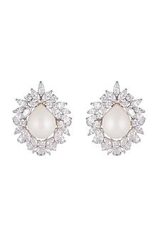 White Finish Cubic Zircons & Pearls Stud Earrings by Mon Tresor