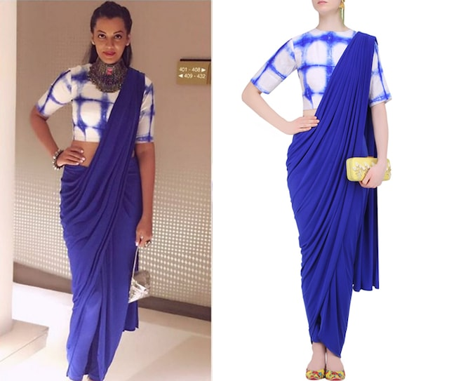 Royal Blue Draped Saree with Tie and Dye Blouse by Mint Blush