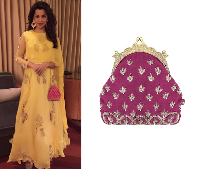 Ruby Pink and Gold Embroidered Tiara Motifs Potli Clutch by Vian