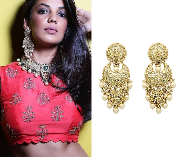 Gold Earrings With Pearls & Polkis by Tyaani
