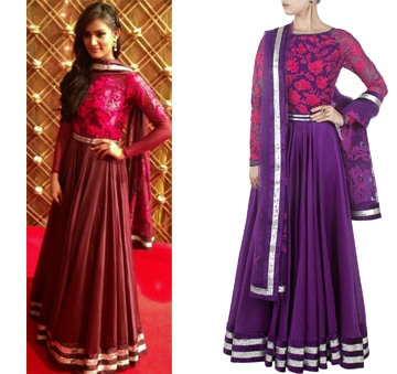 Purple anarkali with embroidered yoke by Varun Bahl