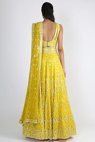 Yellow Embroidered Lehenga Set by Manvi & Manik
