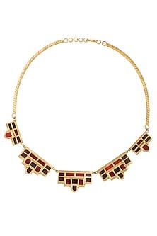 Gold Plated Maroon Mosaic Glass Stone Geometric Stone Necklace by Malvika Vaswani