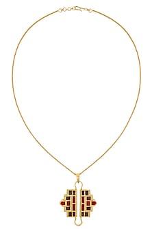 Gold Plated Red Mosaic Satin Glass Stones Geometric Shape Tassel Necklace by Malvika Vaswani
