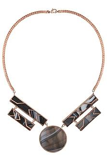 Rose Gold Mosaic Glass Stone Rectangular and Round Stone Necklace by Malvika Vaswani