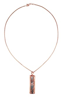Rose Gold Plated Grey Mosaic Satin Glass Square Prism Pendant Necklace by Malvika Vaswani