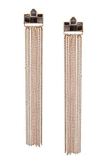 Gold Plated Triple Mosaic Earrings by Malvika Vaswani