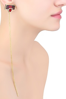 Gold Mosaic Sheet Of Chains Earrings by Malvika Vaswani