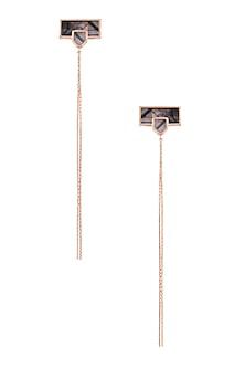 Rose Gold Plated Grey Mosaic Sheet Of Chains Earrings by Malvika Vaswani