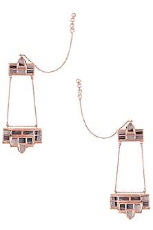 Rose Gold Plated Grey Mosaic Satin Glass Stones Dangler Earrings by Malvika Vaswani