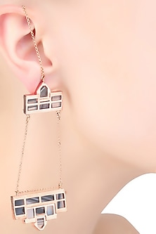 Rose Gold Plated Grey Mosaic Satin Glass Stones Dangler Earrings by Malvika Vaswani