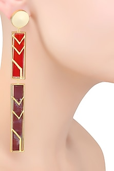 Rose Gold Plated Double Rectangle Earrings by Malvika Vaswani