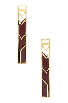 Gold Plated Maroon Satin Rectangle Earrings by Malvika Vaswani