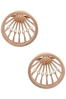 Rose Gold Double Fresco Round Earrings by Malvika Vaswani