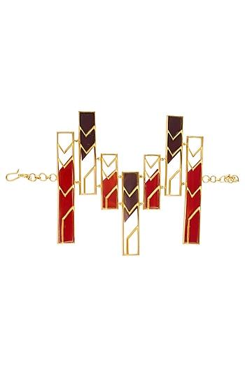 Gold Plated Red and Maroon Satin Glass Stones Rectangular Motif Bracelet by Malvika Vaswani