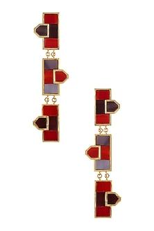 Gold Plated Maroon Triple Mosaic Earrings by Malvika Vaswani