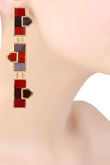 Gold Plated Maroon Triple Mosaic Earrings by Malvika Vaswani