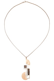 Rose gold plated semi circle pendant necklace by Malvika Vaswani