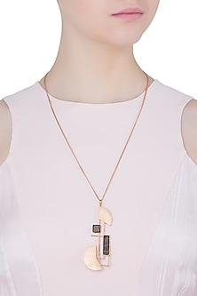 Rose gold plated semi circle pendant necklace by Malvika Vaswani