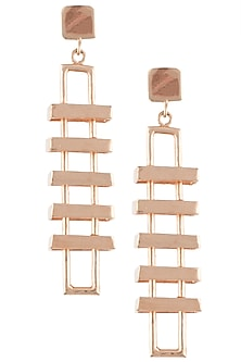 Rose gold plated slat earrings by Malvika Vaswani