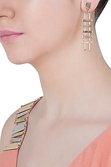 Rose gold plated slat earrings by Malvika Vaswani