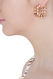 Rose gold plated slat hoop earrings by Malvika Vaswani