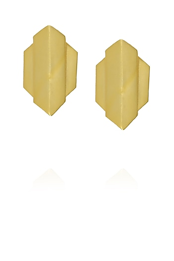 Gold plated capsule arrow stud earrings by Malvika Vaswani