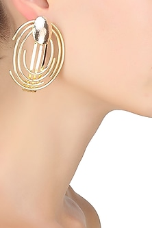 Gold plated concentric earcuff by Malvika Vaswani
