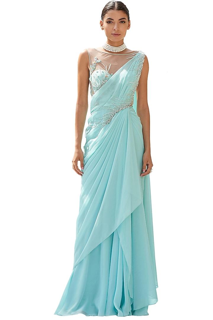 Aqua Blue Embroidered Draped Saree by Mandira Wirk