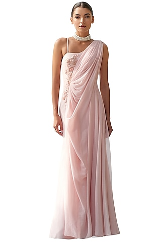 Peach Embroidered Draped Gown by Mandira Wirk