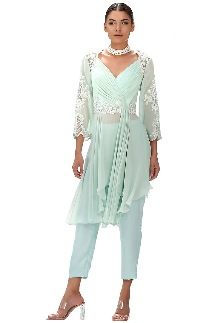 Mint Embroidered Pant Set by Mandira Wirk