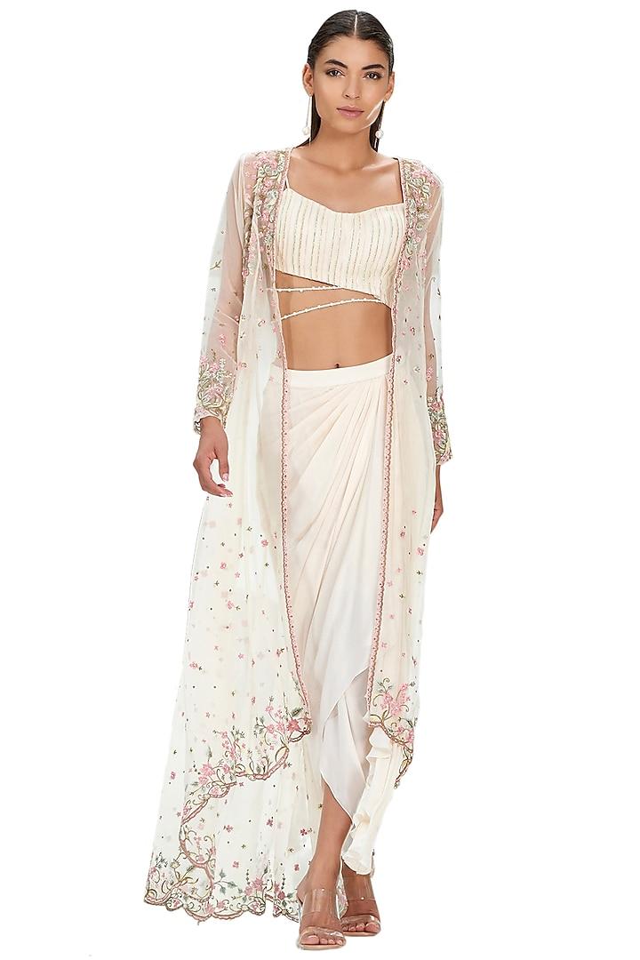 Ivory Embroidered Skirt Set by Mandira Wirk