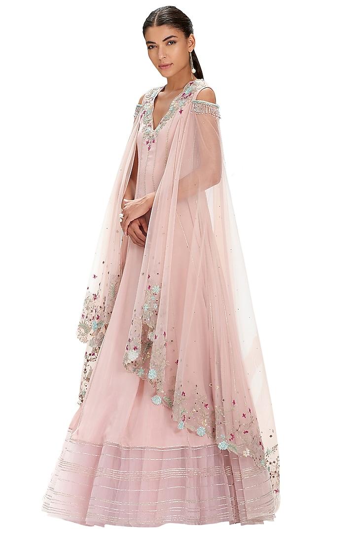 Carnation Pink Embroidered Kalidar Kurta by Mandira Wirk