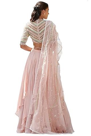 Peach Floral Embroidered Skirt Set by Mandira Wirk