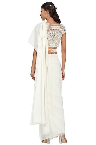 Ivory Embroidered Draped Saree Set by Mandira Wirk