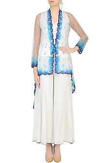 Ivory Floral Embroidered Kurta With Cape Jacket And Palazzo Pants by Mandira Wirk