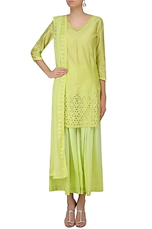 Green Floral Cutwork Kurta With Palazzo Pants Set by Mandira Wirk