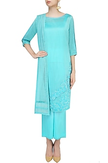 Blue Floral Embroidered Kurta With Palazzo Pants Set by Mandira Wirk