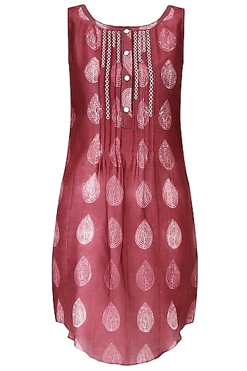 Cherry Red Shibori Effect Asymmetric Top by Mandira Wirk