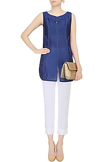 Dark Blue Floral Embroidered Tunic With White Pants by Mandira Wirk