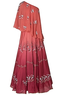 Wine Ombre Embroidered Lehenga Set by Mandira Wirk