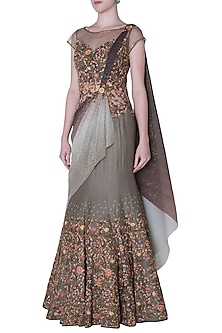 Moss Grey Shimmer Embroidered Drape Saree by Mandira Wirk