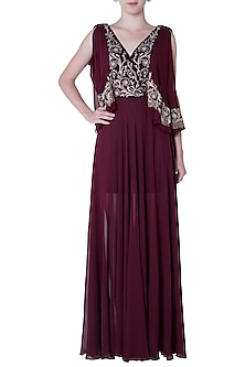 Plum Embroidered Drape Gown Dress by Mandira Wirk