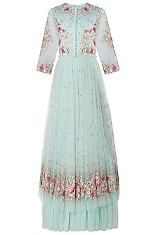 Sage Green Embroidered Gown by Mandira Wirk