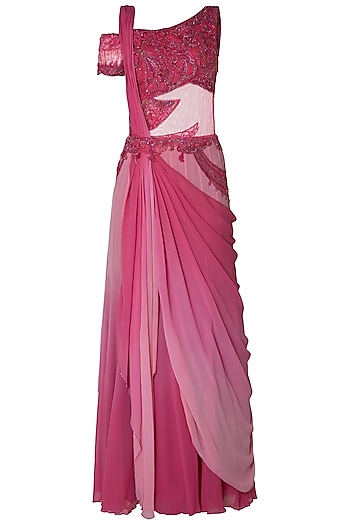 Pink Ombre Embroidered Drape Saree by Mandira Wirk