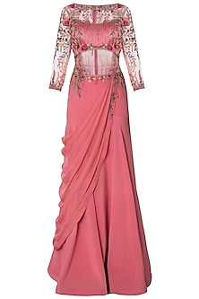 Pink Embroidered Drape Saree by Mandira Wirk