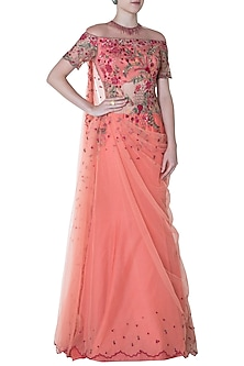 Coral Pink Embroidered Drape Saree by Mandira Wirk
