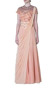 Peach Embroidered Georgette Drape Saree by Mandira Wirk